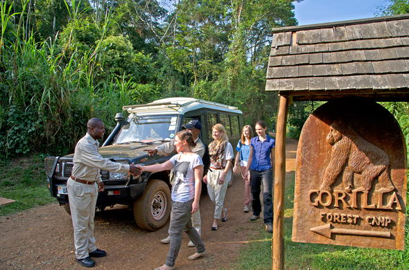 Guests welcomed at Sanctuary Gorilla Forest Camp.