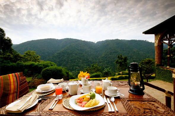 Enjoy breakfast with a lovely view.